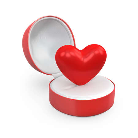 Heart in a round gift box, isolated on white background photo