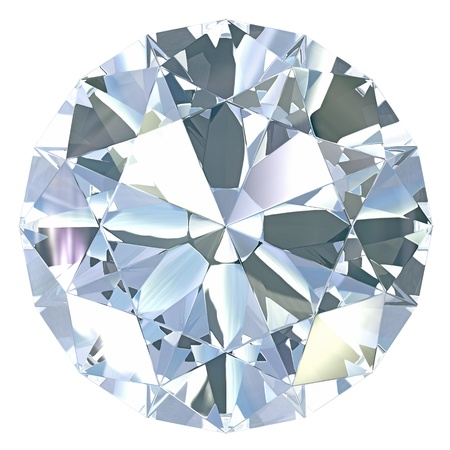 Round, old european cut diamond, isolated on white background photo