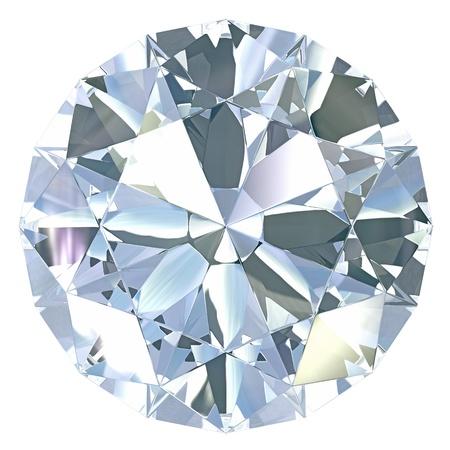 Round, old european cut diamond, isolated on white background Stockfoto