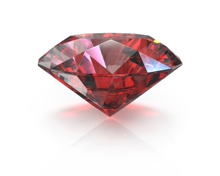 Round cut ruby, isolated on white background Stock Photo