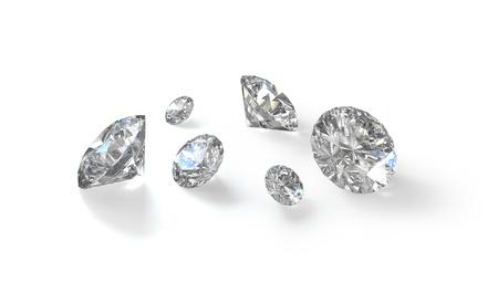 Few old european cut round diamonds, isolated on white background