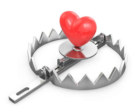animal trap: Red heart in a bear trap, isolated on white background