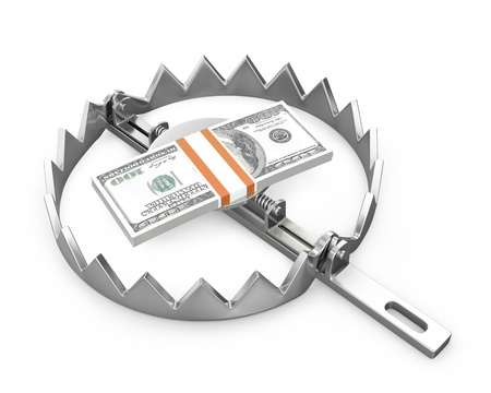 debt trap: Bundle of 100 dollars in a bear trap,  isolated on white background