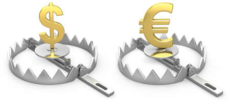 Dollar and yen symbols in a bear trap, isolated on white background photo
