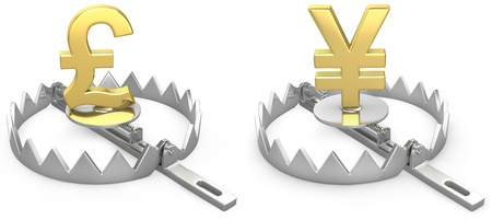 debt trap: Pound and yen symbols in a bear trap, isolated on white background