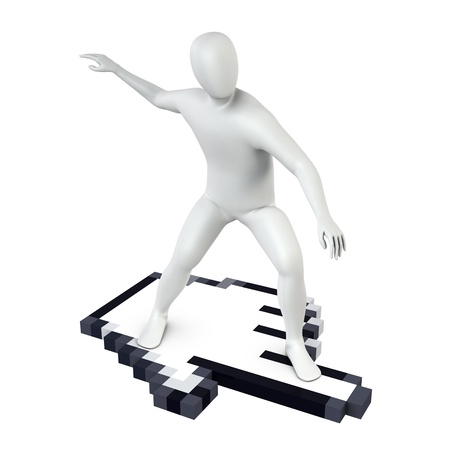 Abstract white guy rides on large computer cursor, isolated on white Stock Photo - 13163362