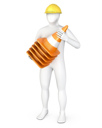 Worker with a stack of road cones, isolated on white photo