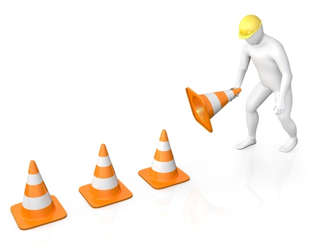 Abstract white guy places road cones, isolated on white background photo