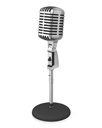 Classic microphone on black stand, isolated on white background photo