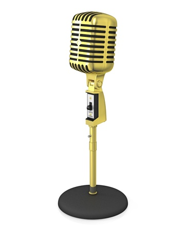 Golden classic microphone on black stand, isolated on white background photo