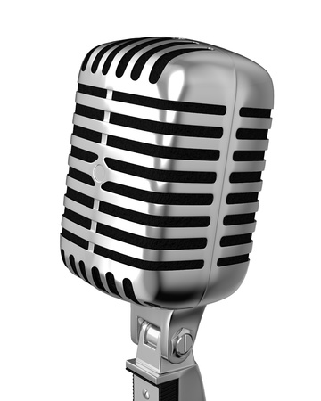 retro microphone: Classic microphone closeup, isolated on white background Stock Photo