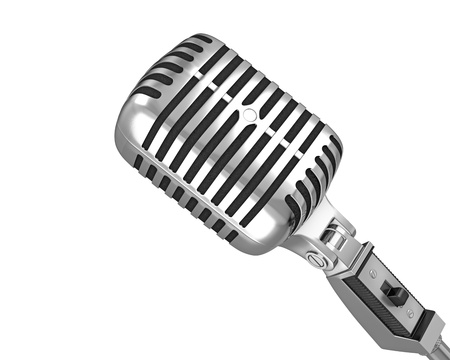 Classic microphone closeup, isolated on white background photo
