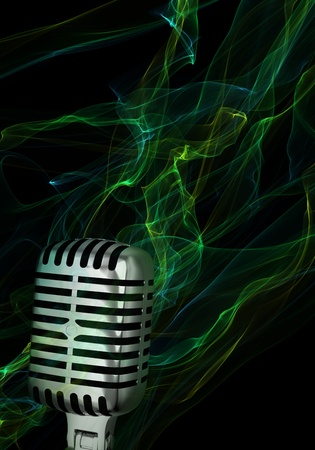 Silver vintage microphone on abstract background Stock Photo
