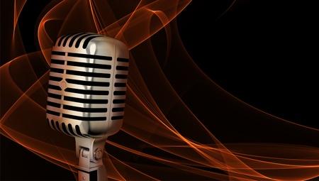 Klassisches Mikrofon Nahaufnahme auf abstrakten Hintergrund
