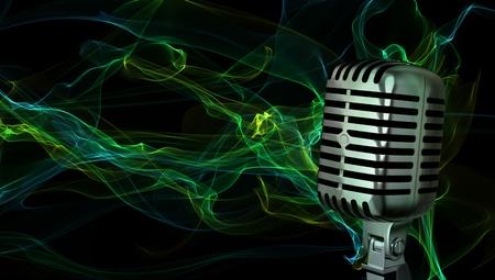 microfono de radio: Primer plano del micrófono clásico en fondo abstracto