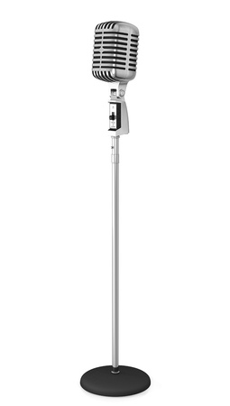 Classic microphone on a long stand, isolated on white background photo