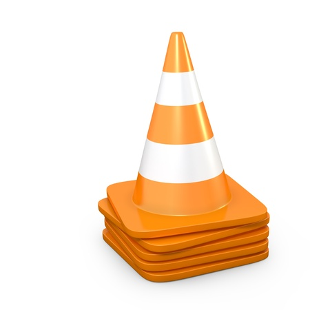 traffic cone: Stack of road cones, isolated on white background