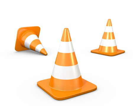 road worker: Three road cones, isolated on white background