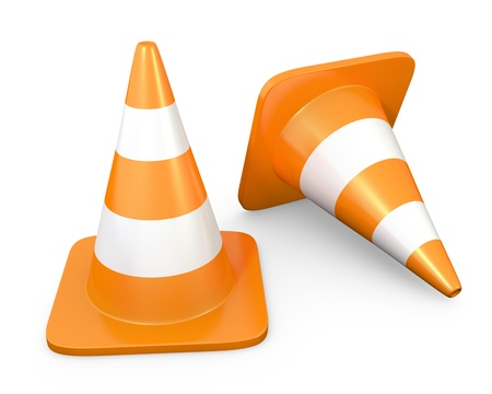 Two traffic cones, isolated on white background photo