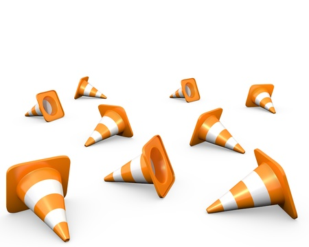 redirect: Large group of traffic cones, isolated on white Stock Photo