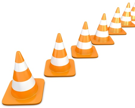 redirect: Diagonal line of traffic cones, isolated on white background
