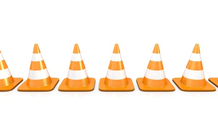 redirect: Line of traffic cones, isolated on white background