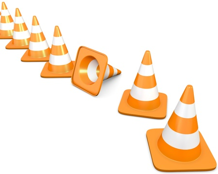 road worker: Diagonal line of traffic cones with one fallen cone, isolated on white background