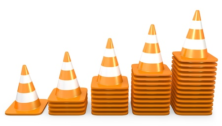 Graph of growth made of traffic cones, isolated on white background photo