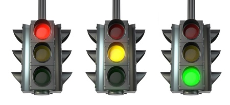 Set of traffic lights, red, green and yellow photo