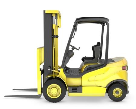 lift truck: Ascensor amarillo tenedor cami�n de la vista lateral, aisladas sobre fondo blanco