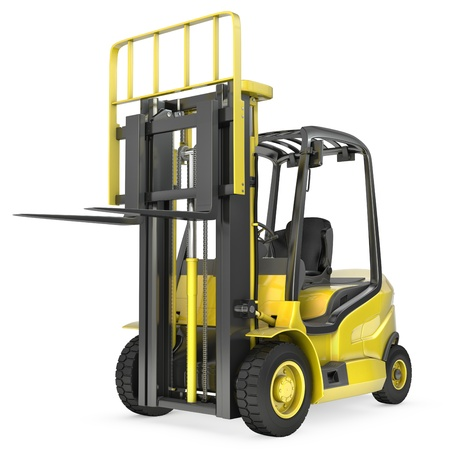 montacargas: Un camión amarillo de elevación tenedor con un tenedor levantado, vista frontal, aislados en fondo blanco Foto de archivo