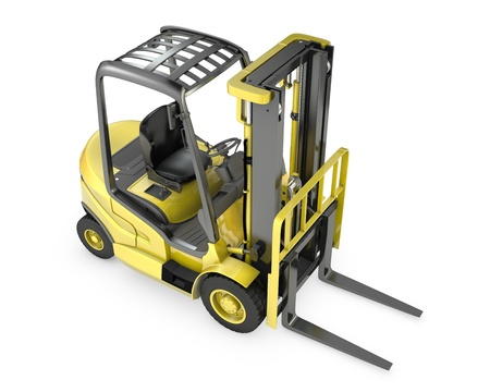 Yellow fork lift truck, top view, isolated on white background photo