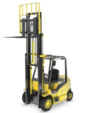 montacargas: Un camión amarillo de elevación tenedor con un tenedor levantado, aisladas sobre fondo blanco