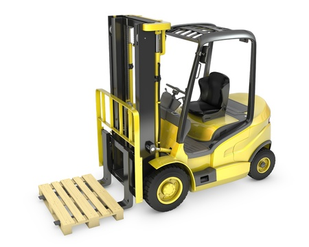 machinery space: Yellow fork lift truck, with a pallet, isolated on white background Stock Photo
