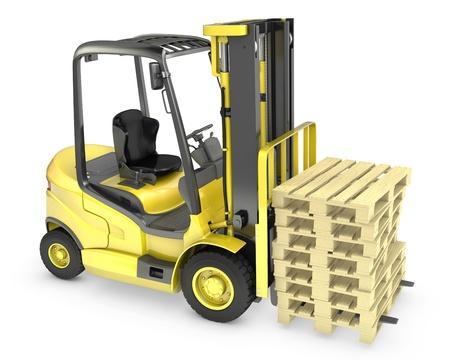 lift truck: Un cami�n amarillo de elevaci�n tenedor, con la pila de palets, aisladas sobre fondo blanco