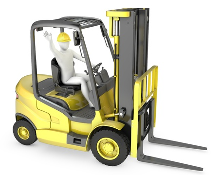 Abstract white man in a fork lift truck, isolated on white background