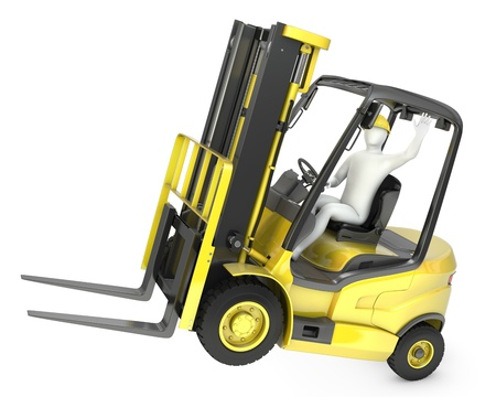 Abstract white man in a fork lift truck, balancing on rear wheels, isolated on white background Standard-Bild