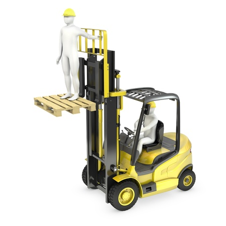 Abstract white man in a fork lift truck, lifting other worker on a fork, isolated on white background Standard-Bild