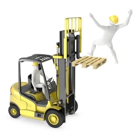 accidente laboral: El hombre abstracto blanco cayendo del tenedor montacargas, debido a la violaci�n de seguridad, aisladas sobre fondo blanco