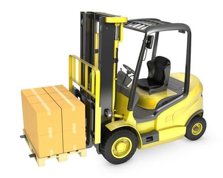 montacargas: Un cami�n amarillo de elevaci�n tenedor con la pila de cajas de cart�n, aislados en fondo blanco