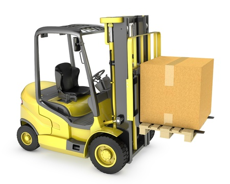 Yellow fork lift truck with large carton box, isolated on white background
