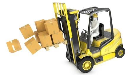 montacargas: Sobrecargado camión amarillo ascensor tenedor caiga hacia adelante, aisladas sobre fondo blanco