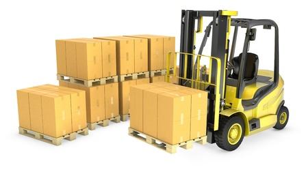 fork lift: Un cami�n amarillo de elevaci�n tenedor con la pila de cajas de cart�n, aislados en fondo blanco