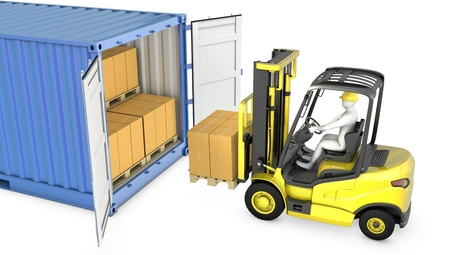 Yellow fork lift truck unloads cargo container, isolated on white background photo