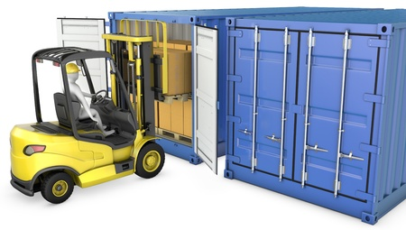 Yellow fork lift truck unloads cargo container, isolated on white background