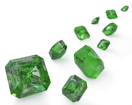 emerald stone: green emeralds, isolated on white background Stock Photo
