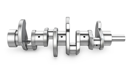 Shiny meta crankshaft, isolated on white background photo