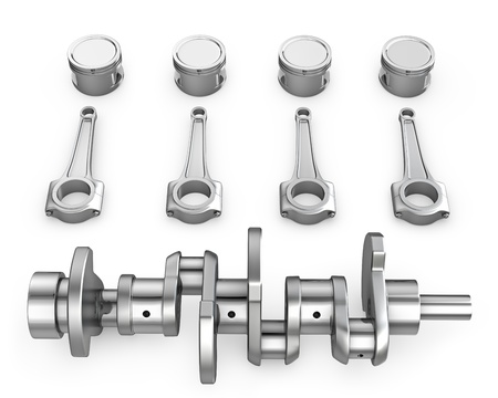 Crankshaft, pistons and connecting rods, isolated on white background photo