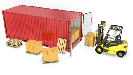Yellow fork lift truck unloads red container, isolated on white background Standard-Bild