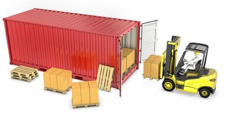 Gelb Gabelstapler entladen roten Container, isoliert auf weißem Hintergrund Standard-Bild - 13928793